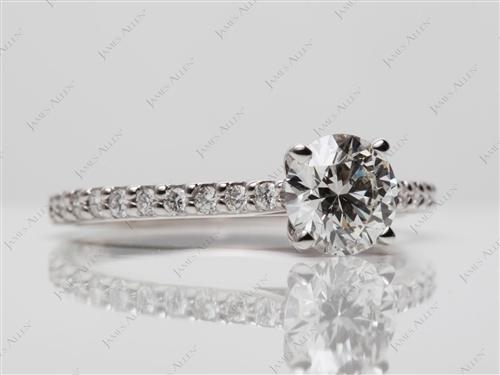 White Gold 1.04 Round cut Sidestone Engagement Ring