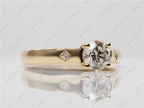 Gold 0.74 Round cut Solitaire Ring Designs