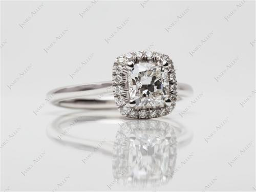 White Gold 0.80 Cushion cut Diamond Rings
