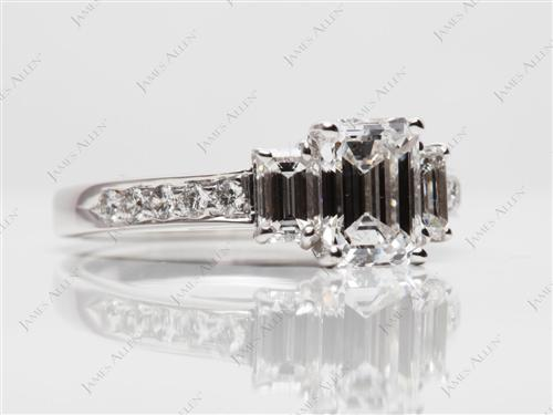 White Gold 1.03 Emerald cut Engagement Rings With Sidestones