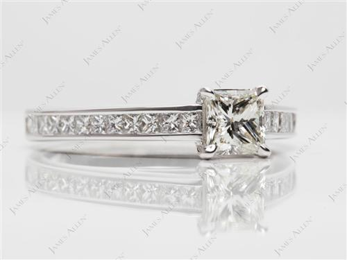 White Gold 0.57 Princess cut Diamond Channel Ring