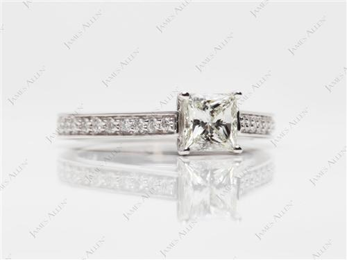 White Gold 0.57 Princess cut Diamond Pave Ring