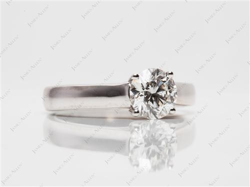 White Gold 1.00 Round cut Diamond Solitaire Ring Settings