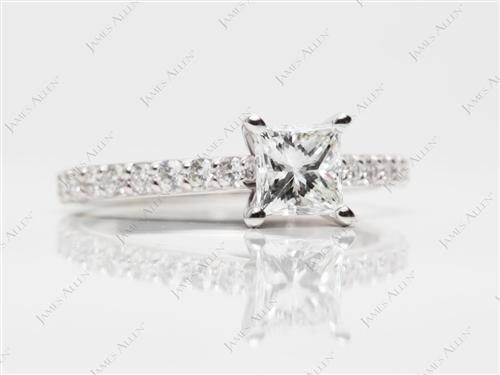 White Gold 0.90 Princess cut Side Stone Engagement Ring