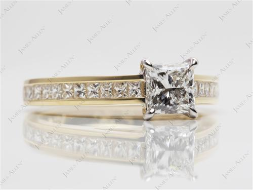 Gold 0.70 Princess cut Channel Set Eternity Rings