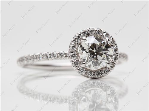 White Gold 0.74 Round cut Micro Pave Engagement Rings