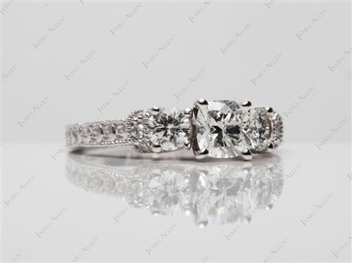 White Gold 0.70 Cushion cut Sidestone Engagement Ring