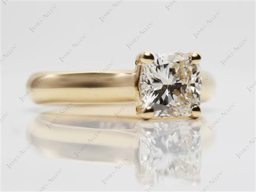 Gold 1.24 Cushion cut Solitaire Ring Setting