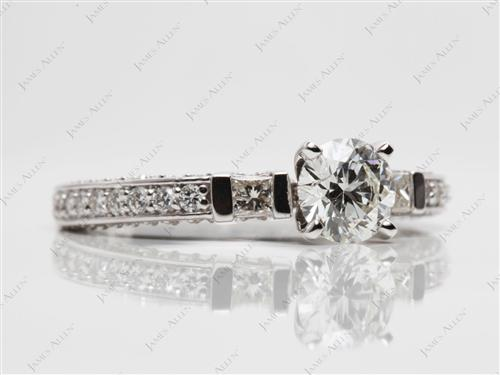 White Gold 0.75 Round cut Pave Ring Set
