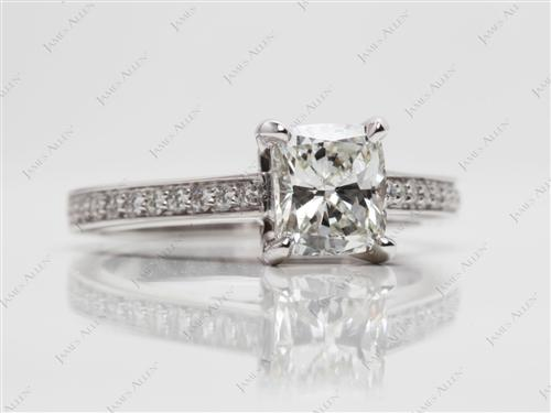 White Gold 1.22 Cushion cut Pave Ring Set