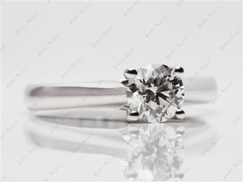 White Gold 0.80 Round cut Engagement Rings