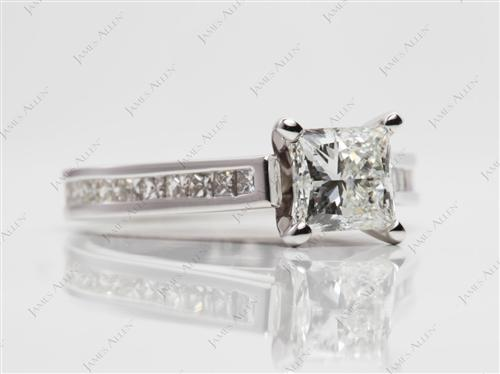 White Gold 1.04 Princess cut Channel Engagement Rings