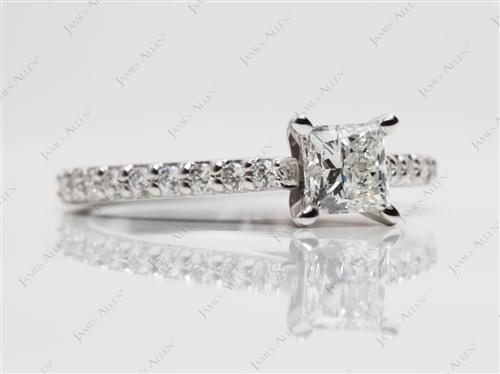 White Gold 0.61 Princess cut Engagement Ring With Side Stones