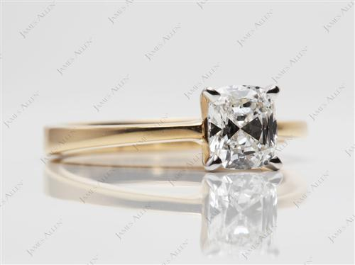 Gold 0.91 Cushion cut Solitaire Ring Settings