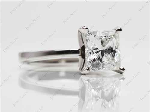 Platinum 1.70 Princess cut Solitaire Ring Setting