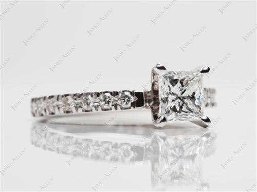 White Gold 0.74 Princess cut Bridal Wedding Ring Sets