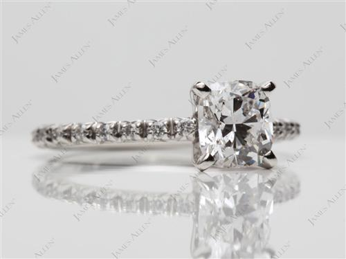 Platinum 1.01 Cushion cut Micro Pave Ring