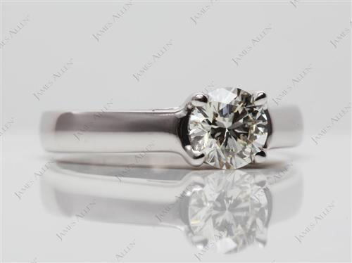 White Gold 0.70 Round cut Engagement Ring