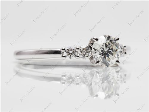 White Gold 0.55 Round cut Engagement Rings