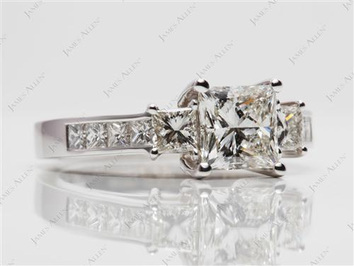 White Gold 1.12 Princess cut Diamond Rings