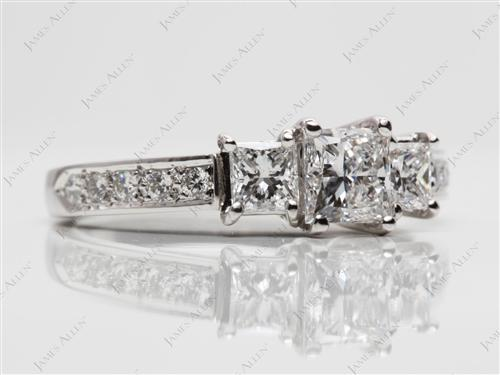 Platinum 0.69 Princess cut Engagement Rings Side Stones
