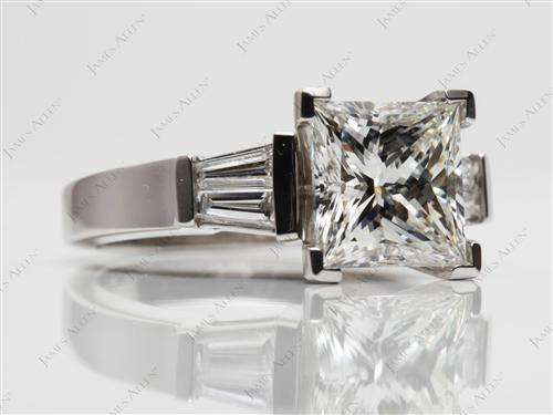 Platinum 2.15 Princess cut Diamond Ring With Sidestones
