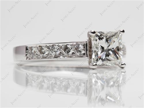White Gold 1.23 Princess cut Pave Diamond Rings