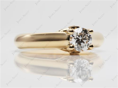 Gold 0.48 Round cut Diamond Solitaire Engagement Ring