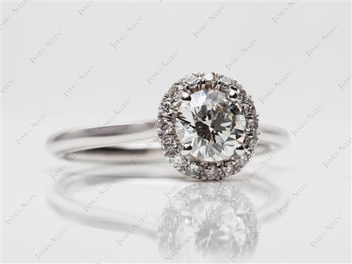 White Gold 0.61 Round cut Pave Ring Mountings