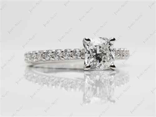 Platinum 1.01 Cushion cut Sidestone Engagement Ring