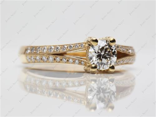 Gold 0.54 Round cut Engagement Rings Pave
