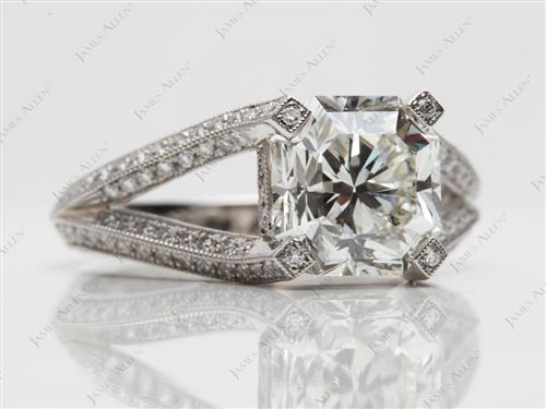 Platinum 3.22 Radiant cut Micro Pave Engagement Rings