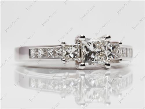 White Gold 0.72 Princess cut Engagement Rings With Sidestones