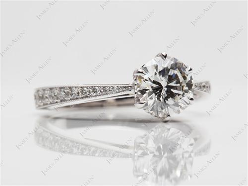 White Gold 0.97 Round cut Pave Diamond Ring