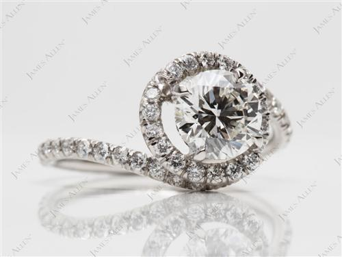 Platinum 1.01 Round cut Micro Pave Engagement Rings