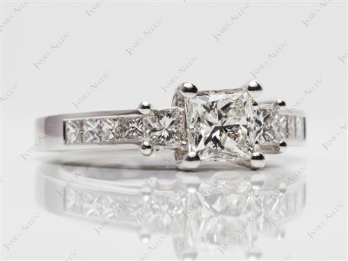 White Gold 0.91 Princess cut Diamond Rings With Side Stones