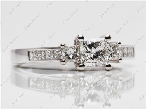 White Gold 0.76 Princess cut Princess Cut Engagement Rings With Side Stones