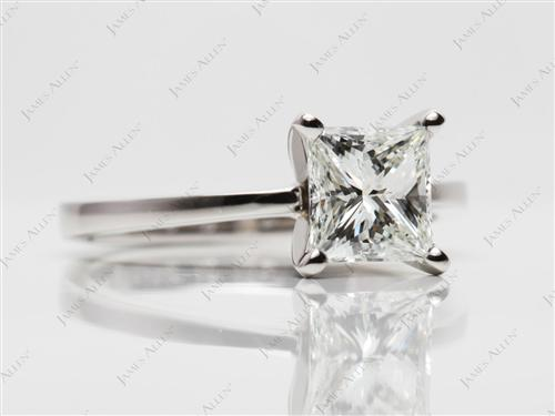 Platinum 1.53 Princess cut Round Solitaire Ring