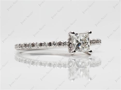 White Gold 0.52 Princess cut Pave Engagement Ring