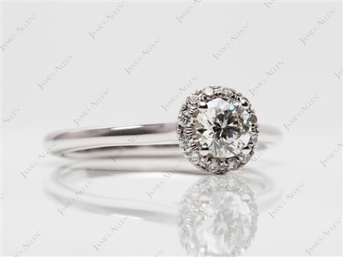 White Gold 0.40 Round cut Pave Ring Setting