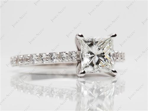 White Gold 1.54 Princess cut Sidestone Engagement Ring