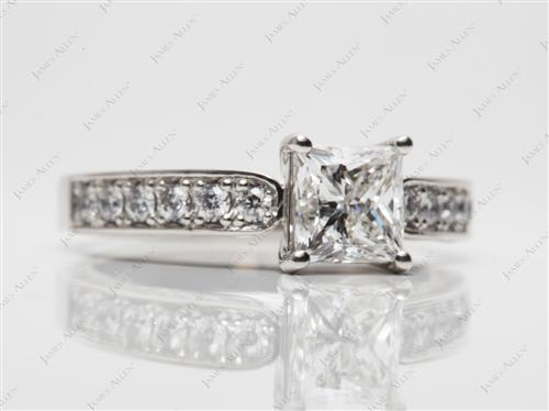 Platinum 1.21 Princess cut Pave Rings