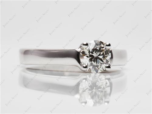White Gold 0.73 Round cut Engagement Ring
