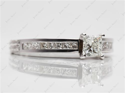 White Gold 0.62 Princess cut Channel Cut Ring