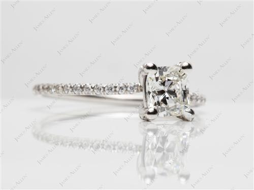 Platinum 1.35 Cushion cut Micro Pave Rings