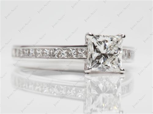 White Gold 1.23 Princess cut Channel Set Eternity Rings