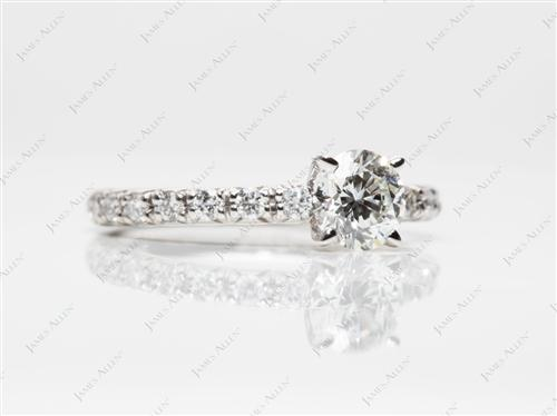Platinum 0.58 Round cut Diamond Pave Rings