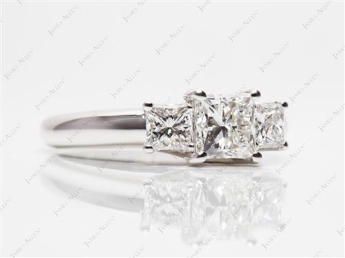 White Gold 0.85 Princess cut Three Stones Ring