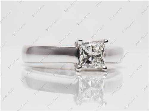 White Gold 0.61 Princess cut Solitaire Ring Designs