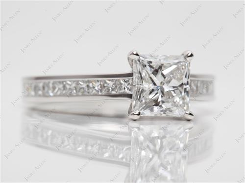 Platinum 1.20 Princess cut Channel Setting Ring